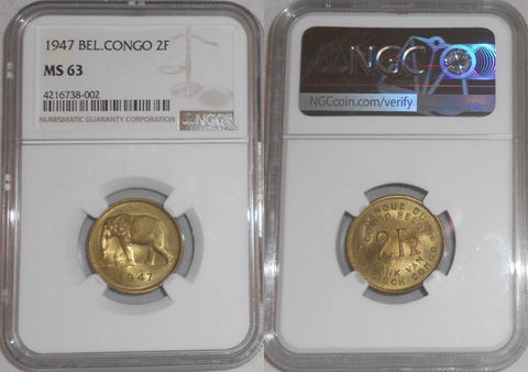 1947 Brass Coin Belgian Congo Two Francs Elephant Facing Left NGC Graded Mint State 63