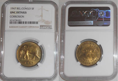 1947 Brass Coin Belgian Congo Five Francs Elephant Facing Left NGC Graded Uncirculated