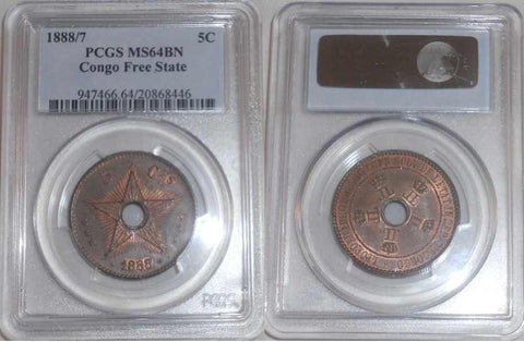 Beautiful Brown Copper Coin Hole in Middle Five Centimes 1888 Congo Free State Uncirculated PCGS MS 64 BN