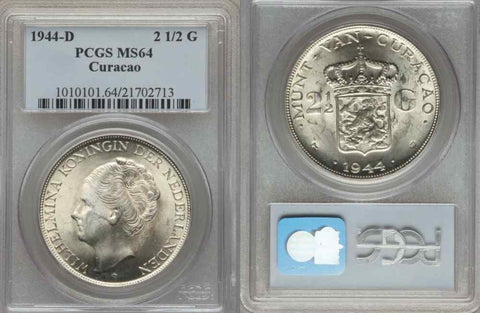 1944-D UNC Silver Coin Curacao Kingdom of Netherlands 2 1/2 Gulden PCGS MS64