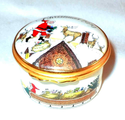 "Cartier Round Enameled Box ""Christmas 1979"" Santa & Rain Deer On Roof England"