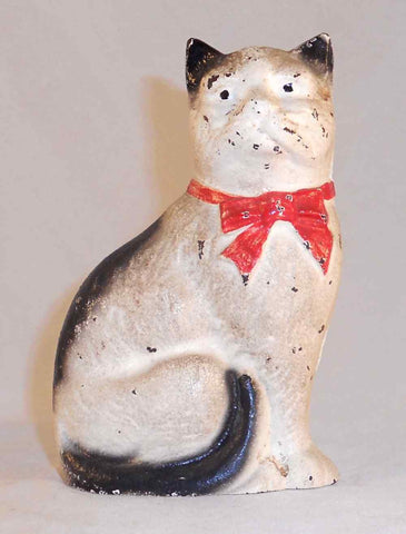 Beautiful Vintage John Wright Cast Iron Still Bank Cat Red Bow Original Paint