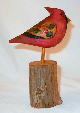 1980 Signed Folk Art Hand Carved & Painted Wooden Christmas Cardinal Bird Figure