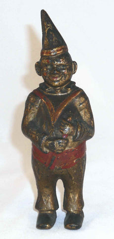 Antique Cast Iron Still Bank Clown With Pointed Hat Gold and Red Colors AC Williams USA