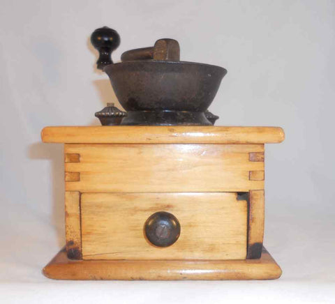 Antique Wood & Cast Iron Manual Coffee Spice Mill Grinder Repaired & Refinished