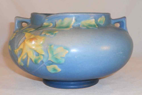 Beautiful 1940s Roseville Pottery Blue Squat Jardiniere Columbine Pattern 655-4""