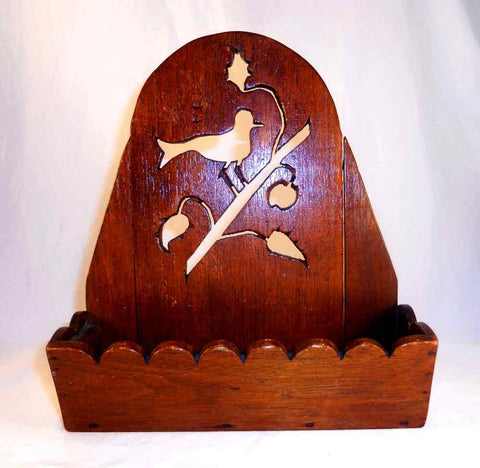 Antique Walnut Hanging Comb Box Wood Construction With Scrollwork Decorated Backboard Bird on Cherry Stem Design