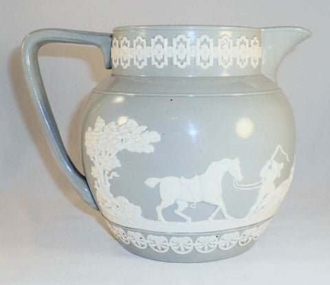 "Antique Copeland Late Spode Bulbous Pitcher Jasperware Hunting Scene Marked ""Rd No 180288 England"""