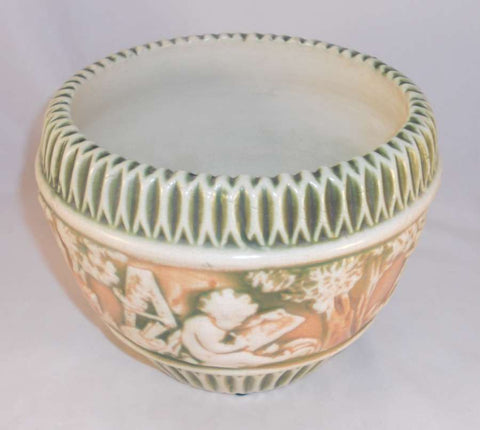Beautiful Roseville Pottery Circa 1915 Donatello Pattern Six Inch Jardinière