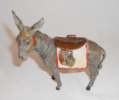 Antique Lead Donkey Hinged Brown Saddle Penny Bank From Germany Niagara Falls Souvenir