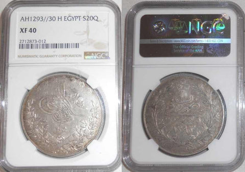 Large Silver Coin 1904/05AD 1293 AH 30th of Abdul Hamid II Reign Egyptian 20 Qirsh Mint Mark H NGC Graded Extremely Fine 40