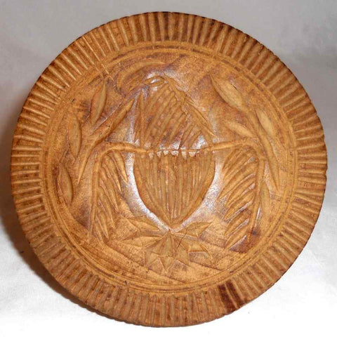 Old Carved Wood Primitive Butter Print American Eagle Design V-Grove Band Border