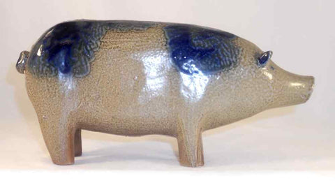 1985 Salt Glazed Stoneware Cobalt Blue on Gray Folk Art Pig David Eldreth PA