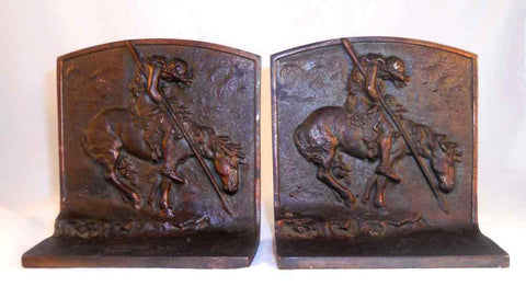 Vintage Cast Iron Bookends End of The Trail Indian Warrior W/ Spear on Horseback