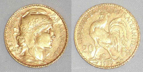 1909 Republic of France Gold Coin Twenty Francs Proud Rooster About Uncirculated
