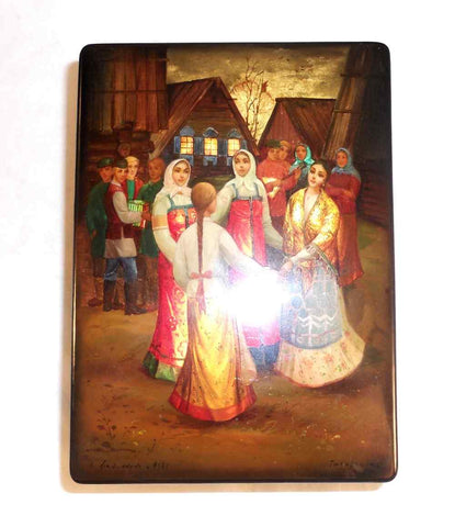 1986 Fedoskino Signed Hand Painted Russian Lacquer Box Dancing In Village Square