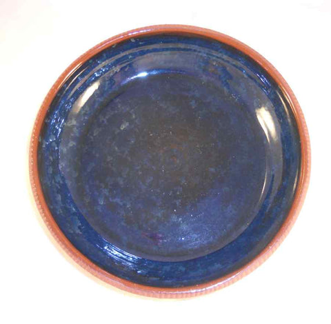 1979 Redware Large Glazed Bowl Cobalt Blue Coloring with Light Mottling By Ned Foltz