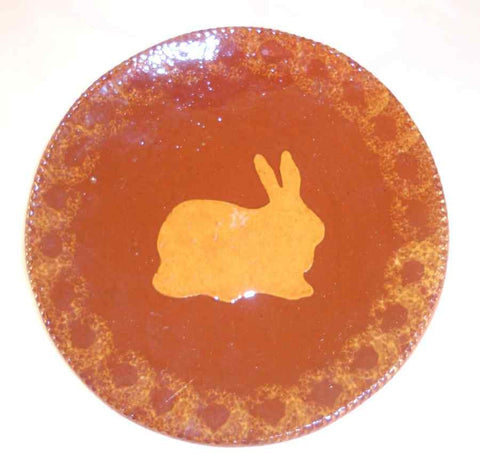 1986 Redware Large Flat Plate Glazed Brown Coloring with Yellow Mottling Yellow Bunny or Rabbit Decoration By Ned Foltz
