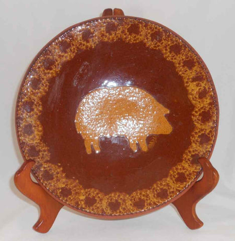 1984 Redware Large Flat Plate Glazed Brown Coloring with Mottling Brown With Yellow Pig Decoration By Ned Foltz