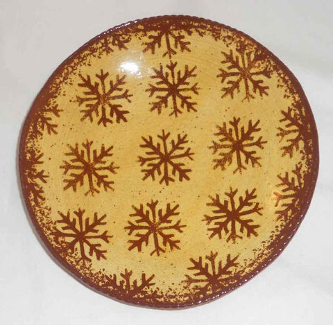 2004 Redware Pie Plate Glazed Yellow Coloring with Brown Mottling Snowflakes Decoration By Ned Foltz