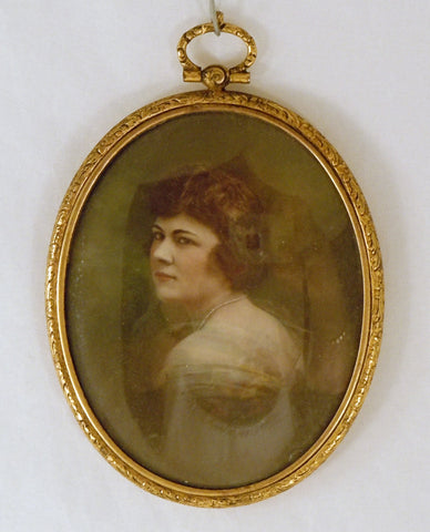 Antique Hand Painted Miniature of A Beautiful Woman in Oval Brass Frame
