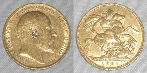 1905 Gold Coin from Great Britain Sovereign King Edward VII Head Right KM 805 AU
