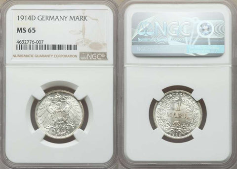 1914D Lustrous Silver Coin Germany Reich One Mark Uncirculated NGC MS65