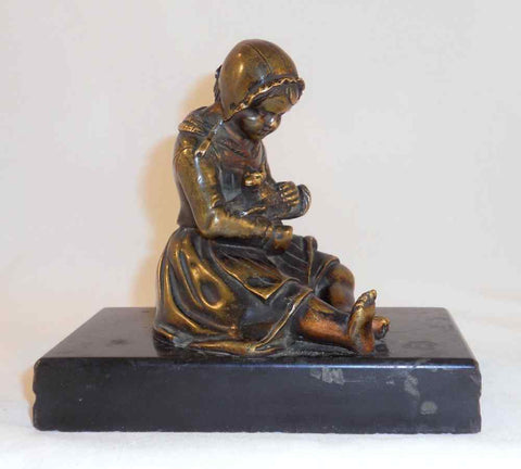 Beautiful and Decorative Bronze Figurine of Girl Holding Puppy Marble Base