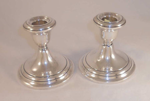 Vintage Sterling Weighted Two Candlestick Holders Cement Filled and Rod Reinforced By Gorham