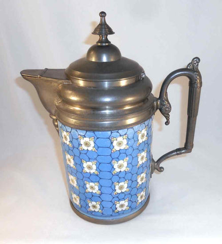 Antique Victorian Graniteware Water Pitcher or Tankard Pewter Handle Spout & Top