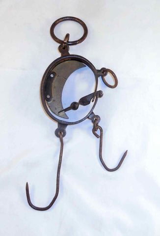 Antique Hanging Fur Trapper's Scale Brass and Wrought Iron Construction