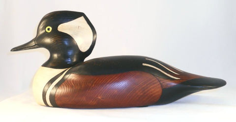 1999 Carved Wood Hooded Merganser Drake Duck Decoy By Al Speakman Newtown, PA