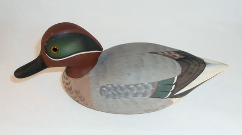 1979 Carved Wood Mallard Drake Duck Decoy By Raymond Hornick Stoney Point Oak Hall VA Glass Eyes