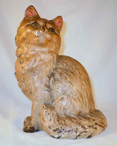 Antique Cast Iron Doorstop Sitting Gray and White Persian Cat By Hubley No. 802