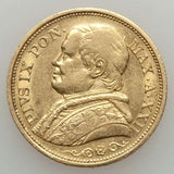 Beautiful 1867 Gold Coin Italian Papal State 20 Lire Pope Pius IX Year 22 KM 1382.3 XXIIR