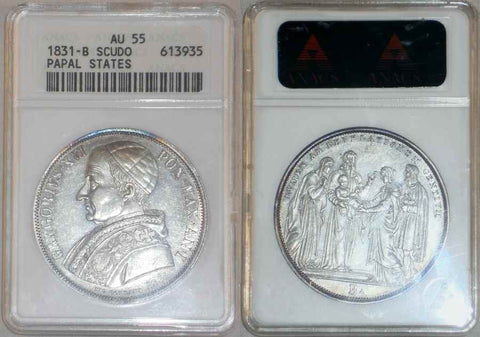 Beautiful 1831-B Silver Coin Italian Papal State One Scudo Pope Gregory XVI Anno I KM 1315.1