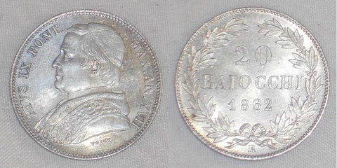Beautiful 1862 Silver Coin Italian Papal State 20 Baiocchi Pope Pius IX Year 17 KM 1360 XVII R