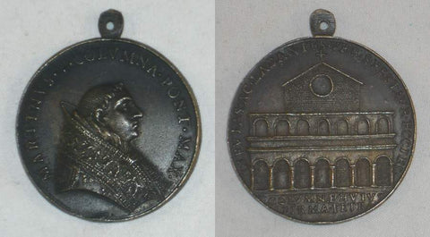 Papal State 1417-1431 Martin V Bronze Medal Old Basilica Constantiniana of St. Peter