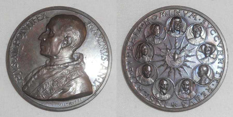 1947 Papal State Bronze Medal  Pope Pius XII Anno IX In Memory of the Proclamation of 9 Saints With F Cabrini First US Citizen to be Canonized