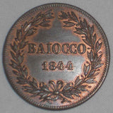 1844-R Copper Coin Italian Papal State Baiocco Pope Gregory XVI Year XIV UNC