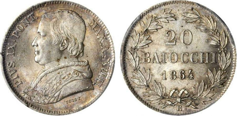 Beautiful 1864-R Silver Coin Italian Papal State 20 Baiocchi Pope Pius IX Year XVIII KM 1360 PCGS Gold Shield MS65