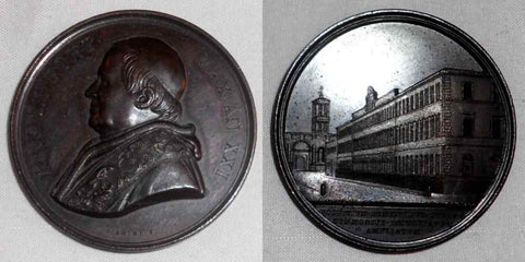1866-67 Vatican Bronze Medal Pope Pius IX Bust Opening Psychiatric Clinic AN XXI