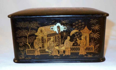 Antique Japanese Lacquer Hand Painted Box Men in Long Robes in Garden Setting