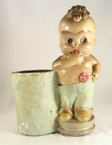 Rare and Unusual Chalkware Figurine Kewpie Baby Lollipop in Hand For Your Chalk Ware Collection