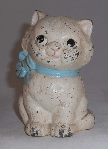 Vintage Cast Iron Still Bank Hubley Little Kitty Cat With Blue Bowtie Collar Original Paint Minimum Loss
