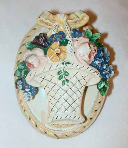 1930s Hubley Cast Iron Flower Basket Shaped Doorknocker with Ribbon on Top