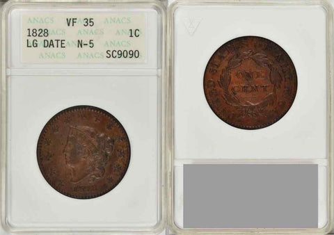 Beautiful 1828 Large Date Matron Head Large Cent ANACS Very Fine 35