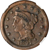 Beautiful 1847 Liberty Head Braided Hair Design Large Cent NGC Graded VF 30 BN