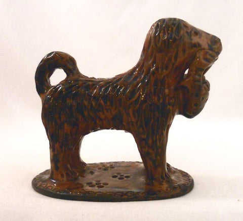 1980s Lead Glazed Redware Figurine Poodle Standing with Basket in Mouth Marked LMH TCP