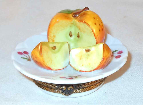Small Limoges Box Hand Painted Dish with Cut Apple Charlmart Exclusif Destieux